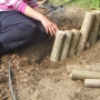 Laying hazel stump path edge