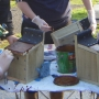 Applying preservative to completed nestboxes