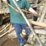 Cleaving chestnut for garden border hurdles