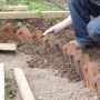 Laying brick path edge