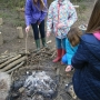 Toasting Marshmallows around a campfire