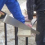 Cutting timber to measured lengths