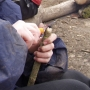 Sharpening hazel charcoal writing point
